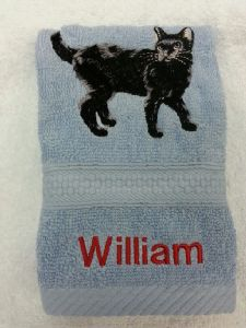 BLACK CAT PERSONALISED FACE CLOTH